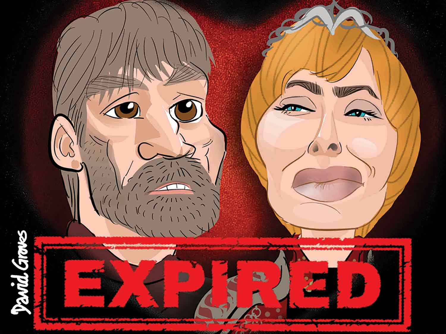 A caricature of Jamie Lanister acted by Nikolaj Coster-Waldau and a caricature of Cersei Lannister acted by Lena Headey