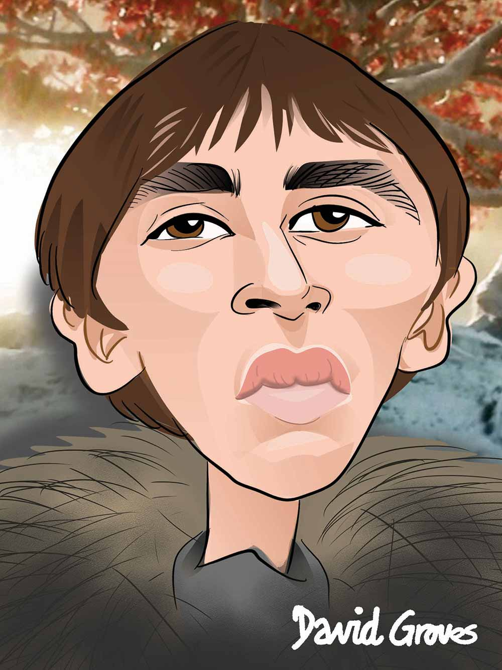 A caricature of Bran Stark acted by Isaac Hempstead Wright