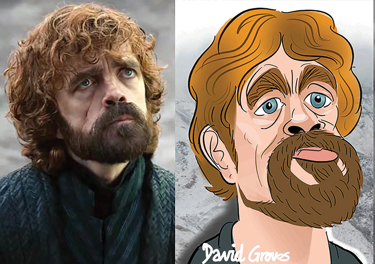 Caricature of Tyrion Lannister acted by Peter Dinklage