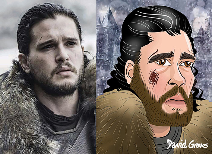 A Caricature of Jon Snow acted by Kit Harington