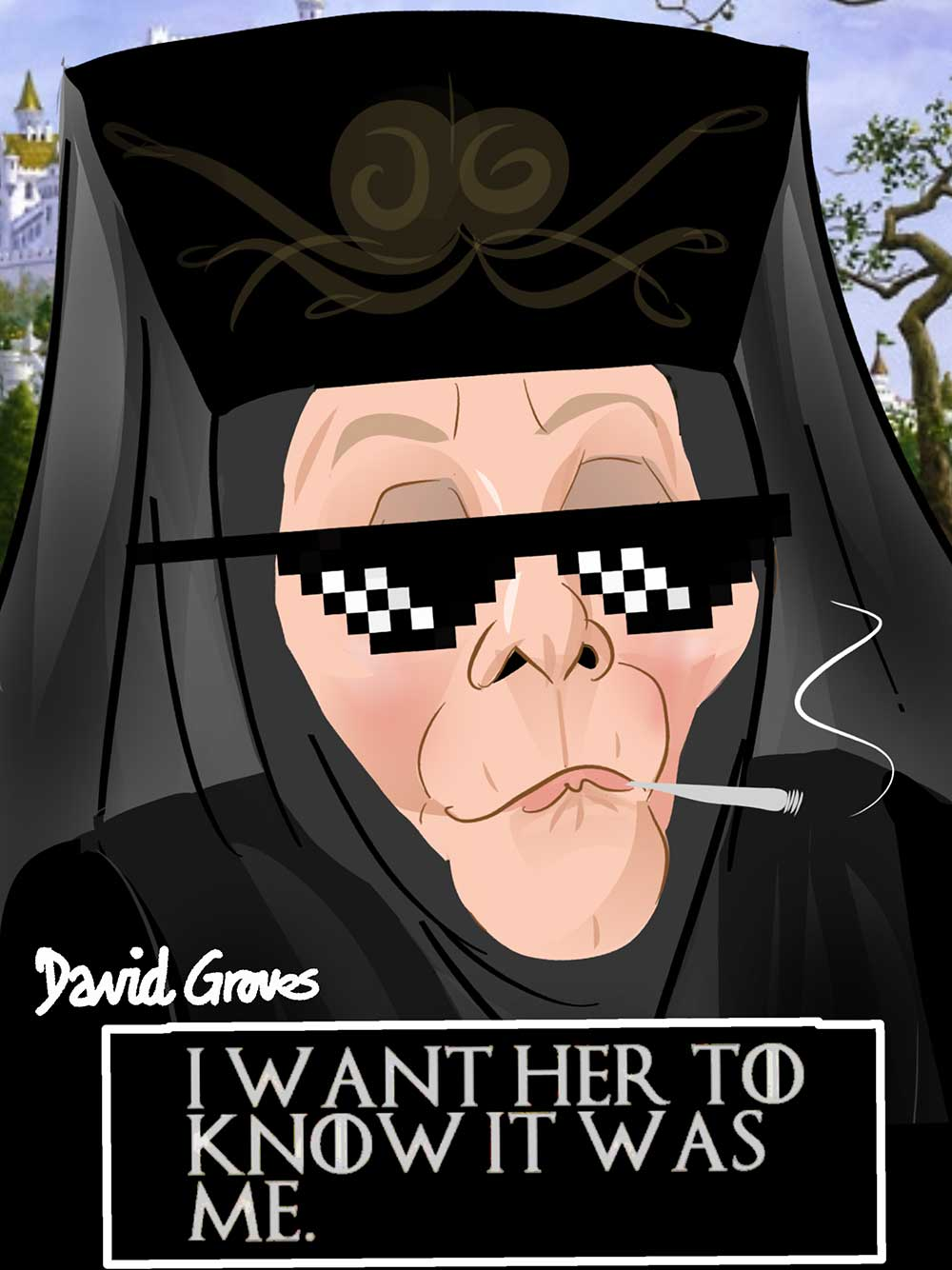 Caricature of Olenna Tyrell acted by Diana Rigg