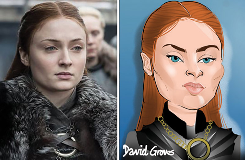 caricature of Sansa Stark acted by Sophie Turner